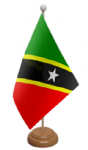 St. Kitts & Nevis Desk / Table Flag with wooden stand and base